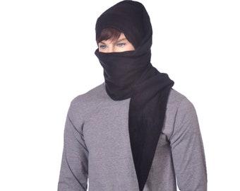 Black Ninja Long Stocking Cap Scarf Hat 5 ft Gothic Hero Hat Unisex Adult Men Women Balaclava Alternative Beanie Cosplay