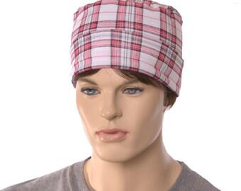 Nightcap White Red Black Plaid Cotton Cuffed Night Cap Adult Men Women Holiday Pajamas Christmas Chemo Hat