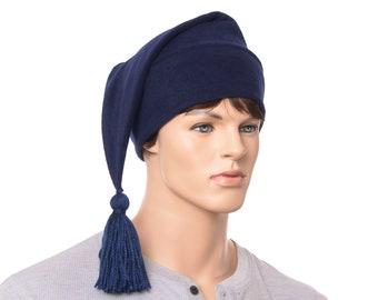Navy Blue Stocking Cap Phrygian Hat Fleece Stocking Cap with Tassel Mens Womens Hat