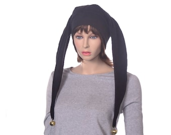 Jester Hat Long Black Fleece Two Pointed Harlequin Cap Gothic Adult Goth Clown Cosplay
