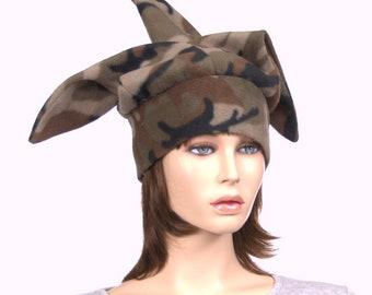 Jester Hat  Camo made of Fleece 3 Pointed Harlequin Cap Adult Men Women Cosplay