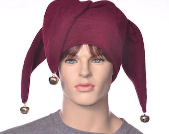 Burgundy Jester Hat Three Pointed Maroon Joker Halloween Costume Bells Long Cosplay