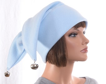 Light Blue Jester Hat with Silver Bells 3 pointed Fleece Hat Adult Mens Womens Winter Cap