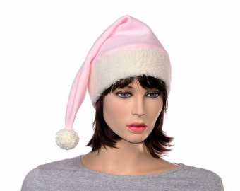 Stocking Cap Pink Sherpa Faux Fur Pointed Hat with Pompom Warm Winter Womens Hat