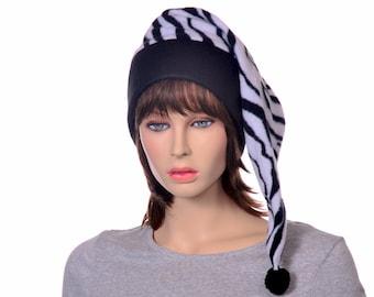 Zebra Stocking Cap PomPom Toboggan Long Pointed Hat Fleece
