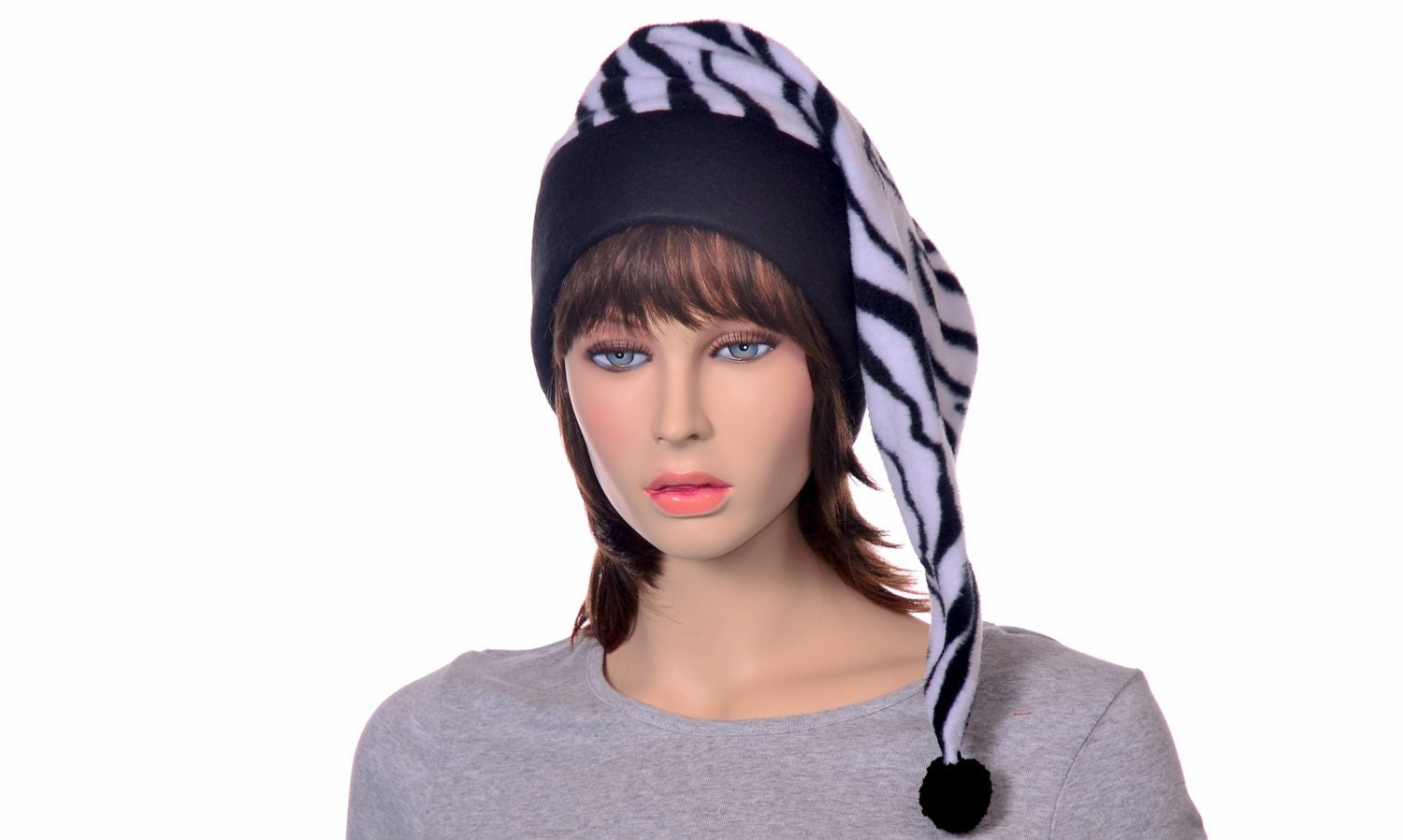 Zebra Stocking Cap Toboggan Long Pointed Hat Fleece Black Brim ... 7c37de08ce0