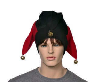 Red Black Jester Hat with Gold Bells Fleece Harlequin Cap Fools Hat Three Pointed Beanie 3 Tail Hat Cosplay