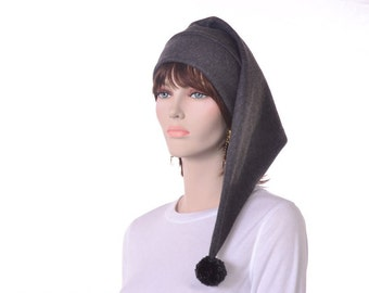 Long Charcoal Gray Stocking Cap with Pompom Fleece Hat Elf Hat Long Tail Adult