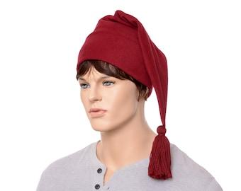 Stocking Cap Burgundy Pointed Tail Hat Tassel Long Beanie Maroon Adult Mens Womens Hat