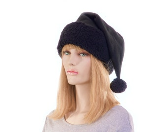 Santa Hat  Black on Black Long Tail  Sherpa Headband Long Stocking Cap Gothic Elf Adult Victorian Stocking