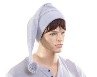 Stocking Cap Light Dove Gray with Pompom Pointed Beanie Fleece Adult Elf Hat