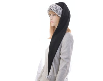 Long Stocking Cap Black Gray Sherpa Waist Length Pointed Hat Fleece Santa Elf Hat Goth Adult Men Women