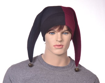Harlequin Jester Cap in Maroon Black Fleece With Bells with Two Tails in Dark Colors Clown Cosplay
