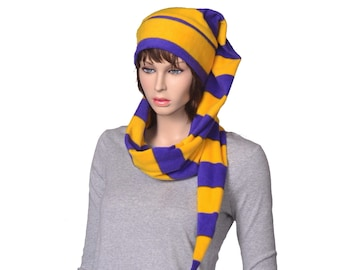 Stocking Cap Striped Long Purple Gold Scarf Hat 5 ft Super Long Coil Cheer Unisex Adult