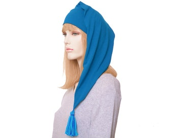 Nightcap Cotton Peacock Blue Night Cap Sleep Hat Tassel Adult Men Women Pajamas Hat