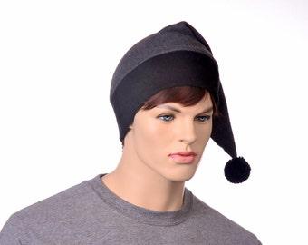 Gray Stocking Cap Black Pompom Fleece Extra Large Unisex Women Mens Hat Goth Long Pointed Elf Beanie Adult