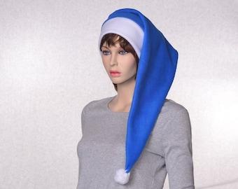 Long Stocking Cap Blue White Headband Pompom Tail Elf Hat