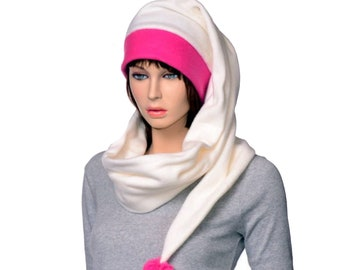 Womens Stocking Cap Long Wrap Around Scarf Hat 5 in Hot Pink Cream Tail Hat with Pompom Fleece Magenta Ivory Hat