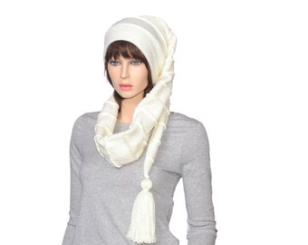 Stocking Cap White Scarf Hat Extra Long Beanie with Tassel Tail Plush Fleece Adult Men Women 5 Foot Long Hat