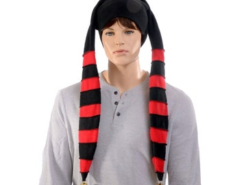 Long Jester Hat Red Black Stripes Made of Fleece Three Tail Point Horns with Bells Cosplay
