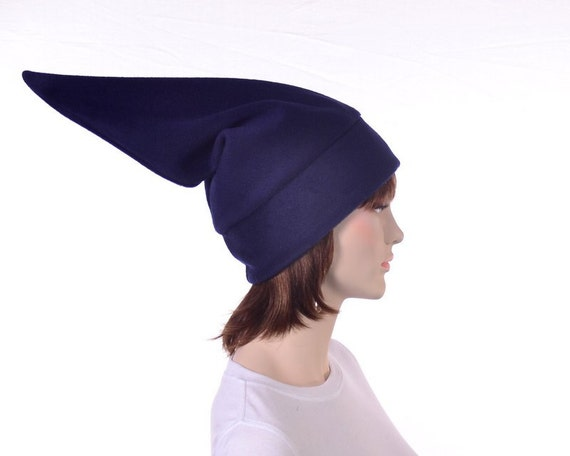 Navy Blue Elf Hat Stocking Cap Pointed Beanie Hat for Man or  b0dc8be63ef