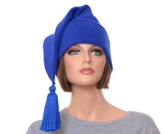 Royal Blue Stocking Cap with Tassel Long Pointed Beanie Hat Adult Man Women Fleece Hat