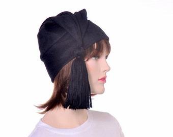 Black Phrygian Cap with Tassel Liberty Hat Fleece Mens or Womens Hat