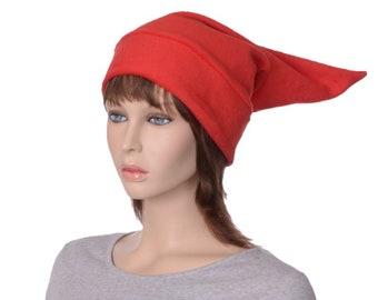 Bright Red Elf Hat Costume Pointed Stocking Cap Adult Unisex Warm Winter Hat Fleece Cosplay