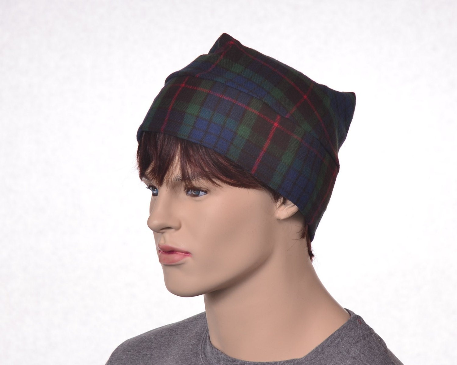 fcb9778673 Cotton Flannel Night Cap in Green Tartan Plaid Heavyweight Nightcap ...