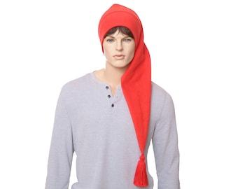 Extra Long Stocking Cap Red Tassel Traditional Santa Hat Long Tail Hat Fleece Hygge