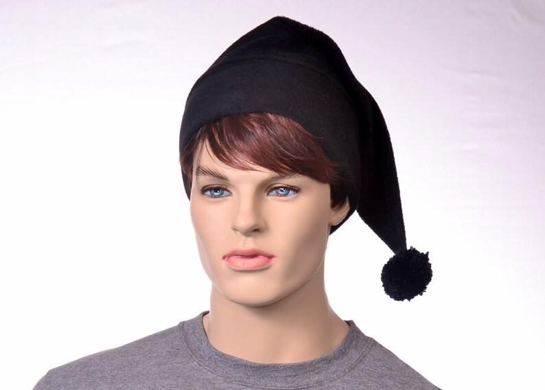 38eeeb7982434 Goth Black Stocking Cap Long Pointed Beanie Dark Elf Hat With Pompom Goblin  Gothic