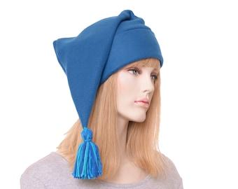 Peacock Blue Stocking Cap Pointed Beanie with Tassel Men Women Unisex Hat Dwarf Hat