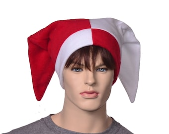 Jester Hat Red White Rear Pointing Tips Backward Court Harlequin Cap Motley Fool Beanie Cosplay