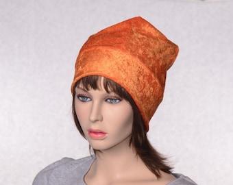 Orange Beanie of Panne Velvet Ladies Slouchy Boho Hat Bohemian Warm Winter Cap Four Corner