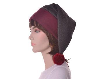 Victorian Stocking Cap Long Beanie Hat Burgundy Gray Elf Hat Man Women Adult