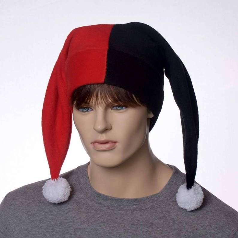 c4e8500656e Black and Red Harlequin Hat with White Pompom Fleece Costume