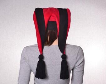Harlequin Cap Red Black Jester Hat Mardi Gras Carnival Fleece 2 Tail With Tassels Back Facing Points Backward