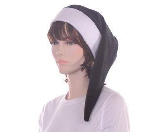 Black White Long Stocking Cap Womens Men Fleece Elf Hat Adult Cosplay
