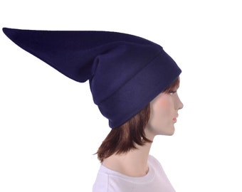 Navy Blue Elf Hat Stocking Cap Pointed Beanie Hat Adult Warm Winter Hat Pointy Fleece Beanie Cosplay