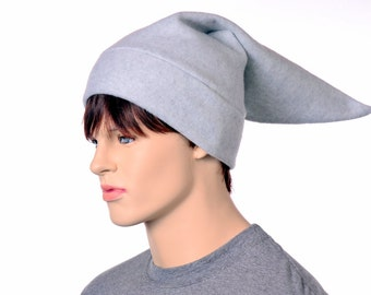 Gray Elf Hat Mens Pointed Beanie Dove Gray Dwarf Cap Adult Cosplay