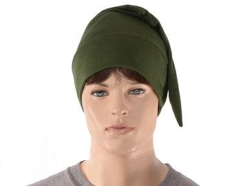 Cotton Sleep Cap Dark Olive Green Traditional Point Nightcap Adult Mens Women Jersey Knit Night Cap Drab Cosplay