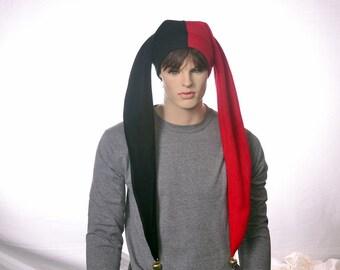 Long Jester Hat Harlequin Cap Red Black with Bells Fleece Fools Hat Mardi Gras Carnival Adult Men Women Cosplay