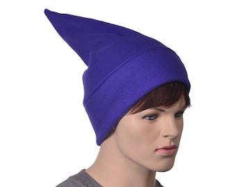 Purple Short Elf Hat Stocking Cap Adult Women Mens Beanie Purple Gnome Dwarf Costume Unisex Pointed Beanie Cosplay