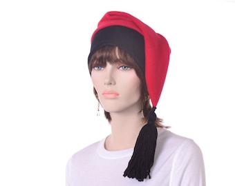 Red Black Phrygian Cap Liberty Hat Fleece Tail Stocking Cap Tassel Mens Womens Long Cosplay