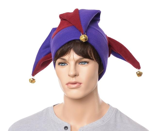 Featured listing image: Jester Hat Maroon Purple Three Point Harlequin Cap Bells Fleece Mardi Gras Carnival Adult Men Women Cosplay