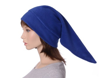 Pointed Hat Royal Blue 2 Ft Long Elf Cap Pointed Beanie Fleece Costume  Adult Holiday Christmas Cosplay
