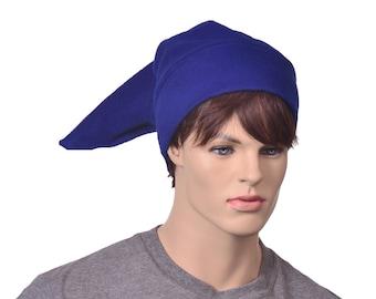 Blue Elf Hat Mens Stocking Cap Blue Fleece Pointed Hat Costume Dwarf Adult Cosplay