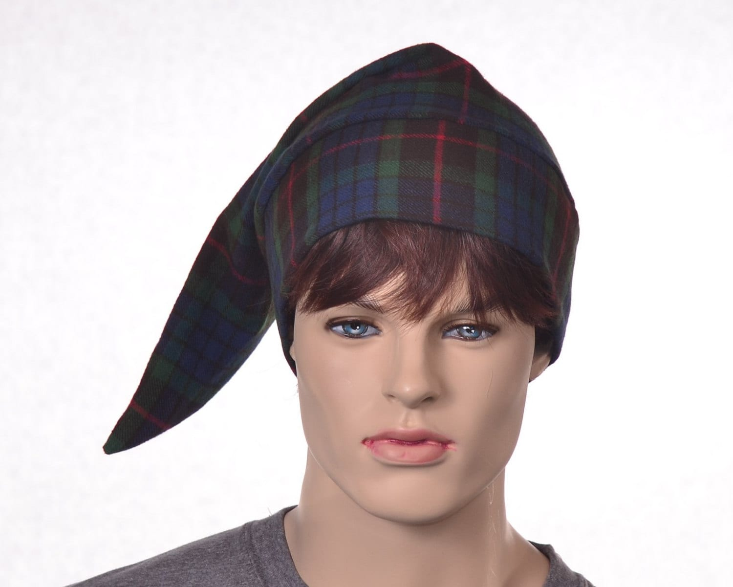 f0b64280d1 Cotton Flannel Night Cap in Green Tartan Plaid Heavyweight Nightcap Adult  Mens Women s Sleep Hat Traditional Pointed Nightcap Sleeping Cap