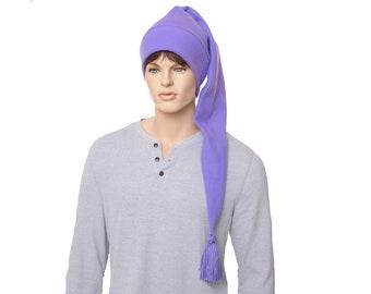 Extra Long Stocking Cap Purple Waist Length PomPom Hat Long Tail Hat Fleece Hygge Adult Men Women Unisex
