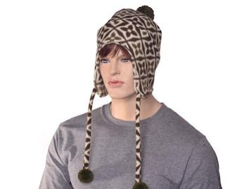 Ear Flapped Beanie Green Ivory Cap Pompom Tie  Adult Men Womens Hat Bobble Hat Ski Cap